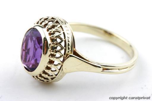 amethystring in gold ring mit amethyst damenring 585 ebay. Black Bedroom Furniture Sets. Home Design Ideas