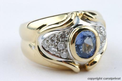 saphir ring gold saphirring in 750 gold mit brillanten diamanten saphirringe ebay. Black Bedroom Furniture Sets. Home Design Ideas