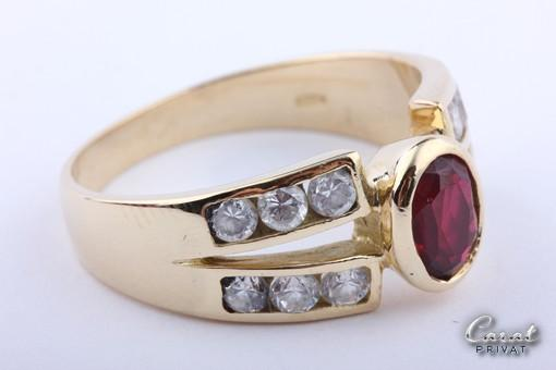 rubin ring gold in 18kt 750 gelbgold ring mit synth rubin 12 zirkonia gr 58 ebay. Black Bedroom Furniture Sets. Home Design Ideas