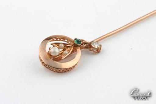Motiviert Diamant- Und Perlen-anstecknadel In 14kt 585 Rosegold Antike Nadel Mit Turmalin Moderate Kosten