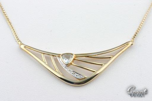Diskret Collier Mit Aquamarin In Aus 8kt 333 Gelbgold Gold Kette Länge 44 Cm *