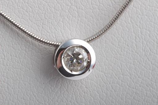 brillant diamant collier anh nger aus 585 wei gold mit kette brilliant solit r ebay. Black Bedroom Furniture Sets. Home Design Ideas