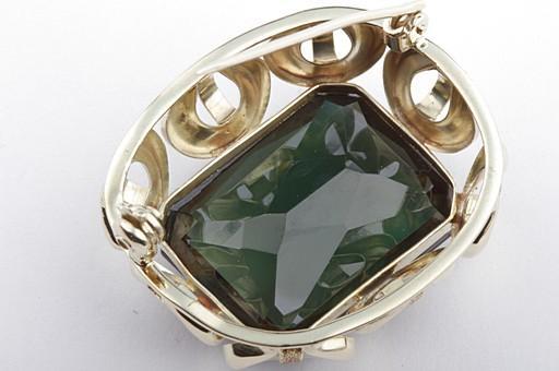 Diamanten & Edelsteine Grüner Spinell In 585 14kt Gelbgold Handarbeit # Brosche Nadel Mit Synth