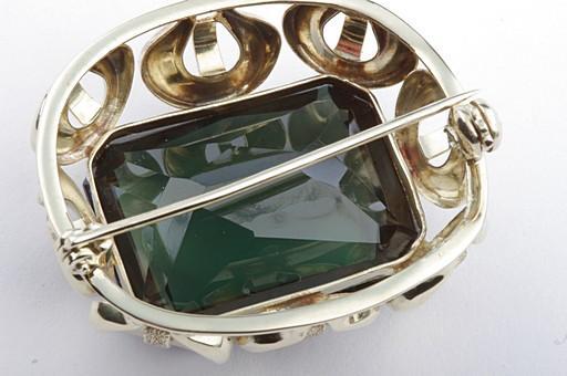 Brosche Nadel Mit Synth Diamanten & Edelsteine Grüner Spinell In 585 14kt Gelbgold Handarbeit # Broschen & Anstecknadeln